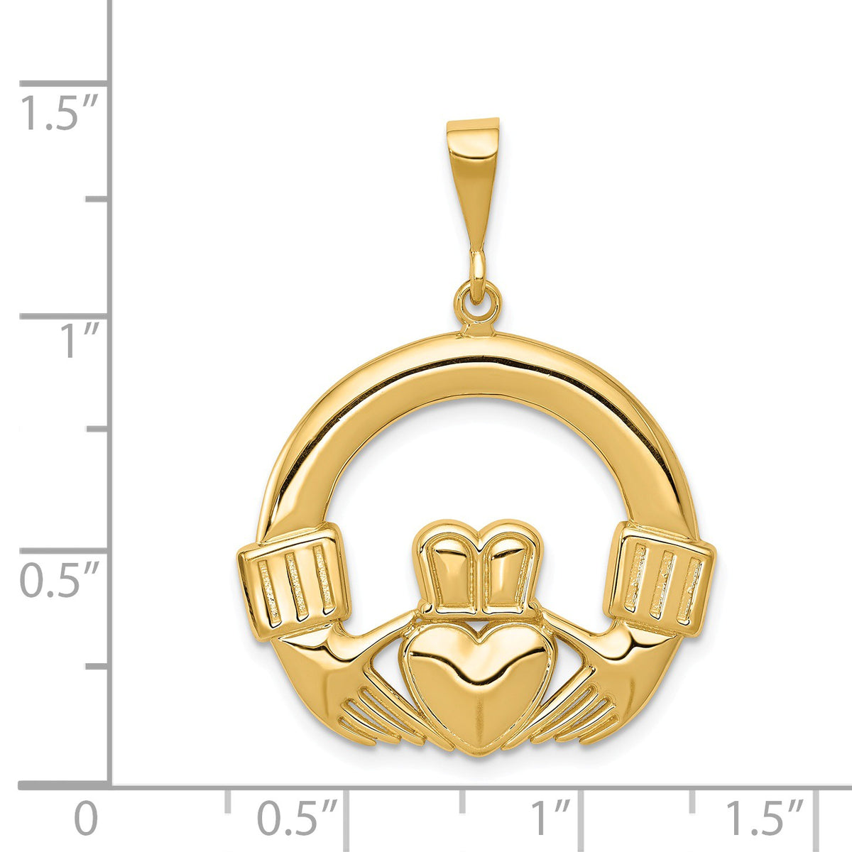 Alternate view of the 14k Yellow Gold Claddagh Pendant, 25mm by The Black Bow Jewelry Co.