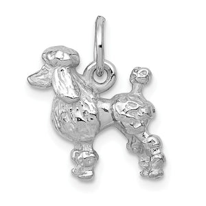 14k White Gold 3D Textured Poodle Charm or Pendant - The Black Bow Jewelry Co.
