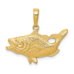 14k Yellow Gold Open Mouth Bass Pendant - The Black Bow Jewelry Co.