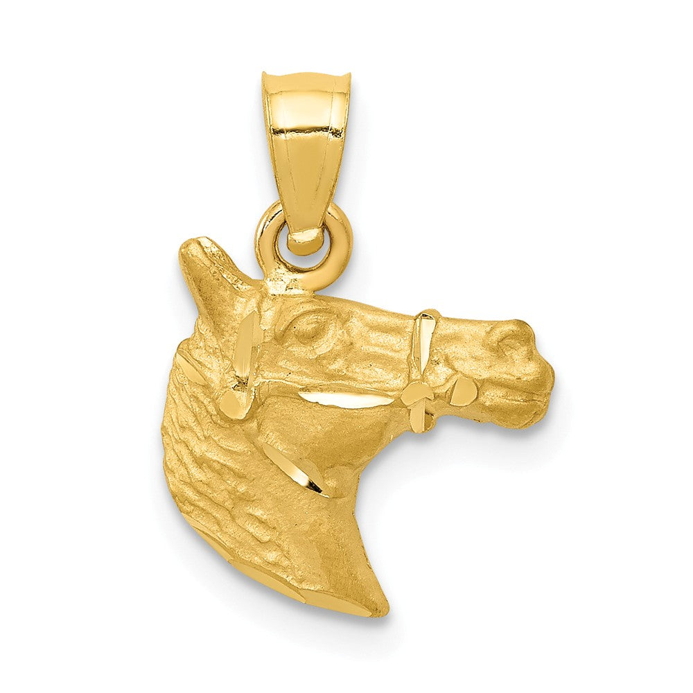 14k Yellow Gold Satin and Diamond Cut Horse Head Pendant, Item P10658 by The Black Bow Jewelry Co.