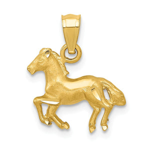 14k Yellow Gold Small Satin Galloping Horse Pendant - The Black Bow Jewelry Co.