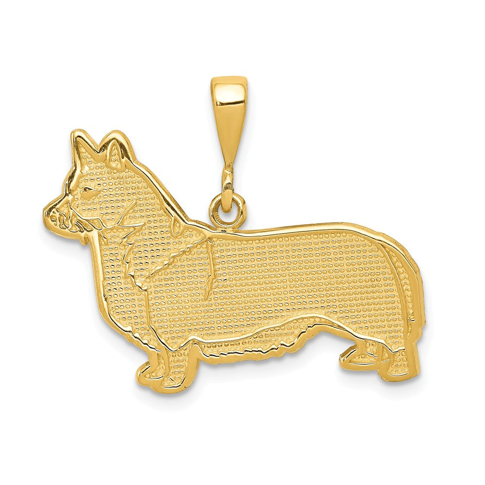 14k Yellow Gold Welsh Corgi Dog Pendant, Item P10667 by The Black Bow Jewelry Co.