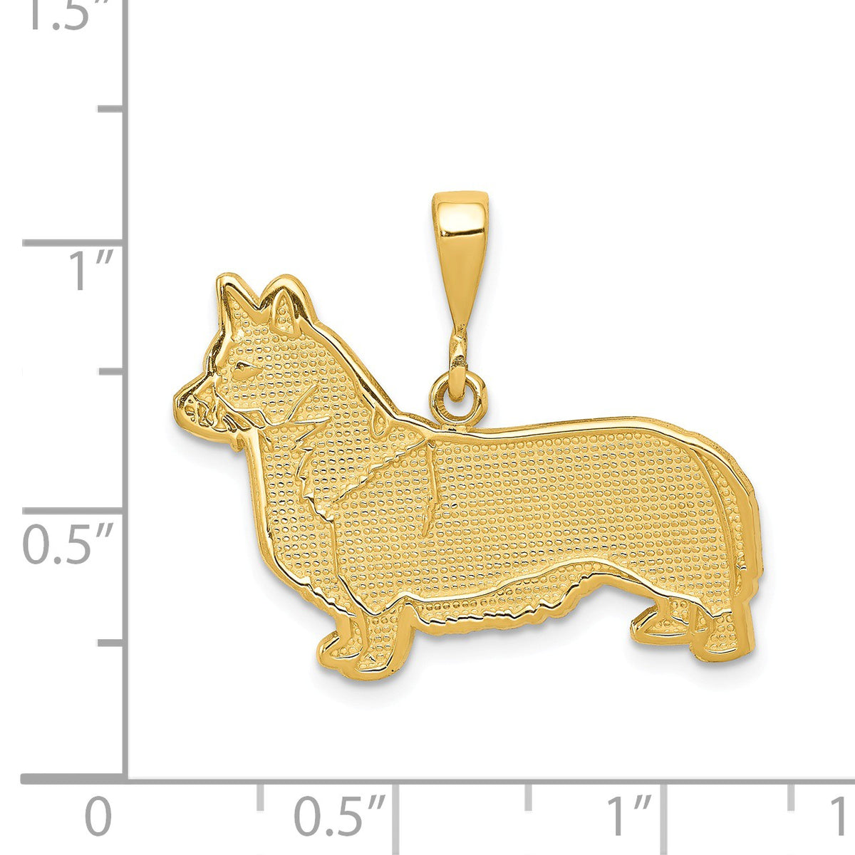 Alternate view of the 14k Yellow Gold Welsh Corgi Dog Pendant by The Black Bow Jewelry Co.