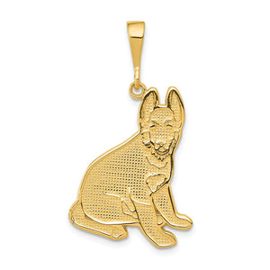 14k Yellow Gold German Shepherd Pendant - The Black Bow Jewelry Co.