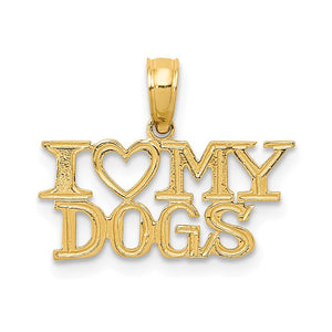 14k Yellow Gold I Heart My Dogs Polished Pendant - The Black Bow Jewelry Co.