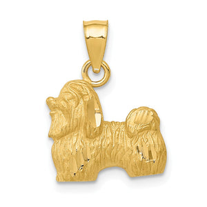 14k Yellow Gold Small Satin and Diamond Cut Shih Tzu Pendant - The Black Bow Jewelry Co.