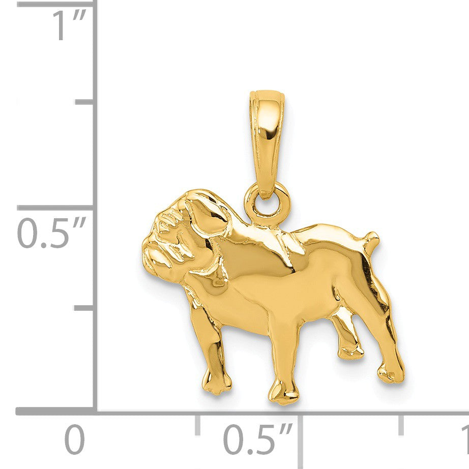 Alternate view of the 14k Yellow Gold Polished Bulldog Pendant by The Black Bow Jewelry Co.