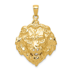 14k Yellow Gold Large Lion's Head Pendant - The Black Bow Jewelry Co.