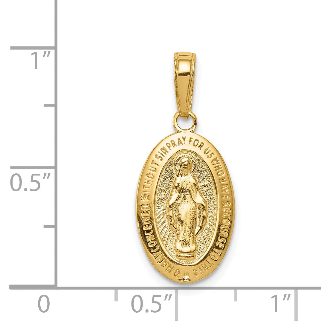 Alternate view of the 14k Yellow Gold Solid Miraculous Medal Pendant, 10 x 24mm by The Black Bow Jewelry Co.