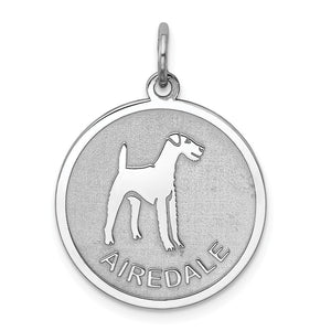 Sterling Silver Laser Etched Airedale Terrier Dog 19mm Necklace - The Black Bow Jewelry Co.