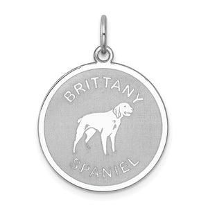 Sterling Silver Laser Etched Brittany Spaniel Dog 19mm Necklace - The Black Bow Jewelry Co.