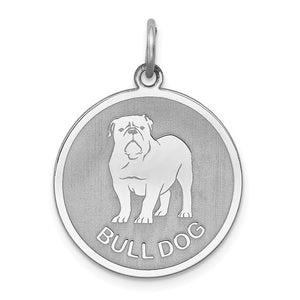 Sterling Silver Laser Etched Bulldog Dog Pendant, 19mm - The Black Bow Jewelry Co.