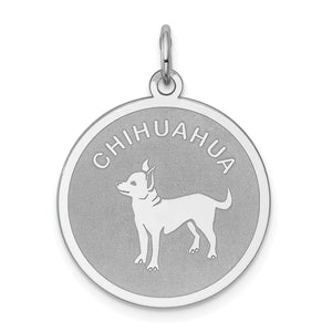Sterling Silver Laser Etched Chihuahua Dog 19mm Necklace - The Black Bow Jewelry Co.