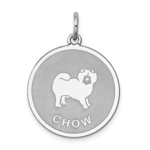Sterling Silver Laser Etched Chow Dog 19mm Necklace - The Black Bow Jewelry Co.