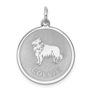 Sterling Silver Laser Etched Collie Dog 19mm Necklace - The Black Bow Jewelry Co.