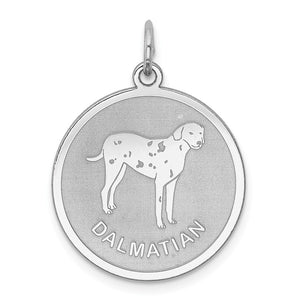 Sterling Silver Laser Etched Dalmatian Dog Pendant, 19mm - The Black Bow Jewelry Co.