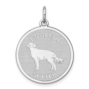 Sterling Silver Laser Etched English Setter Dog 19mm Necklace - The Black Bow Jewelry Co.