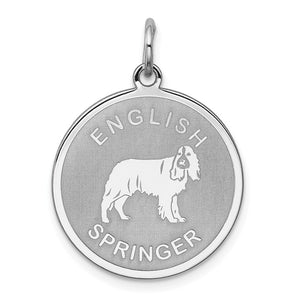 Sterling Silver Laser Etched English Springer Dog Pendant, 19mm - The Black Bow Jewelry Co.