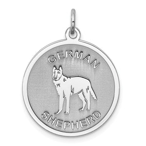 Sterling Silver Laser Etched German Shepherd Dog 19mm Necklace - The Black Bow Jewelry Co.