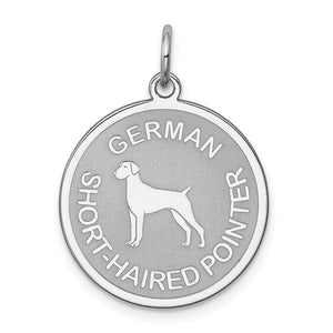 Sterling Silver Laser Etched German Shorthaired Pointer 19mm Necklace - The Black Bow Jewelry Co.