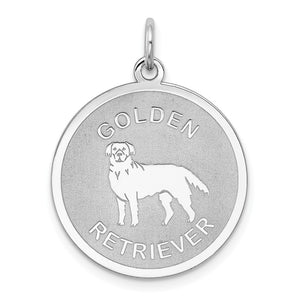 Sterling Silver Laser Etched Golden Retriever Dog 19mm Necklace - The Black Bow Jewelry Co.