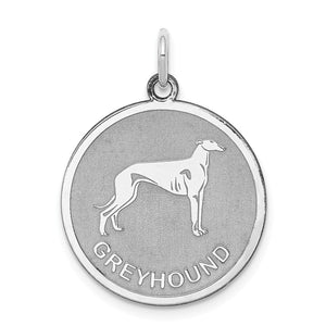 Sterling Silver Laser Etched Greyhound Dog Pendant, 19mm - The Black Bow Jewelry Co.