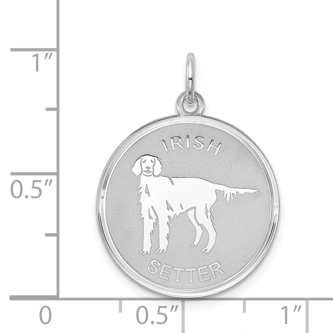 Alternate view of the Sterling Silver Laser Etched Irish Setter Dog Pendant, 19mm by The Black Bow Jewelry Co.