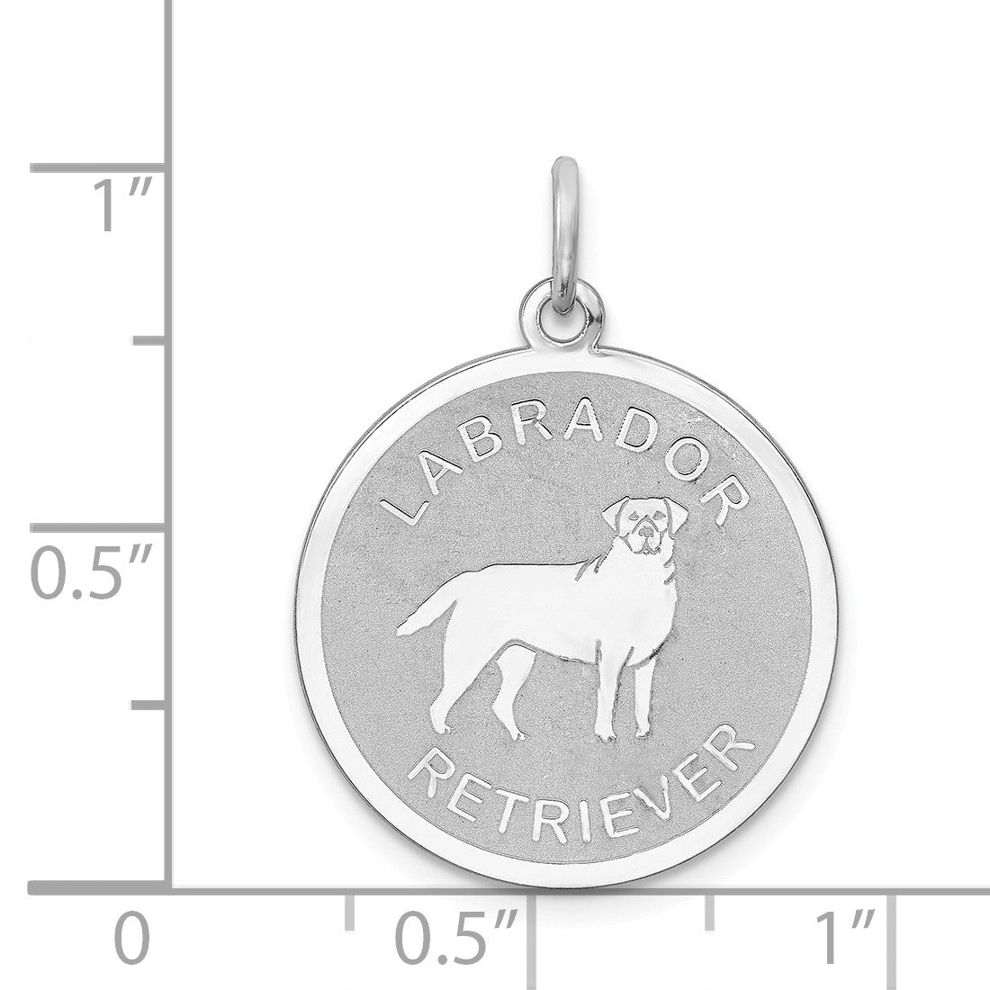 Alternate view of the Sterling Silver Laser Etched Labrador Retriever Dog Pendant, 19mm by The Black Bow Jewelry Co.