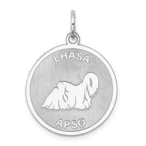 Sterling Silver Laser Etched Lhasa Apso Dog 19mm Necklace - The Black Bow Jewelry Co.