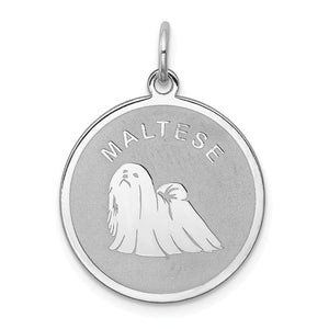 Sterling Silver Laser Etched Maltese Dog 19mm Necklace - The Black Bow Jewelry Co.