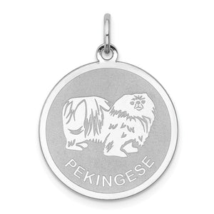 Sterling Silver Laser Etched Pekingese Dog 19mm Necklace - The Black Bow Jewelry Co.