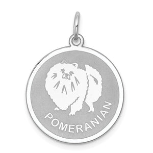 Sterling Silver Laser Etched Pomeranian Dog Pendant, 19mm - The Black Bow Jewelry Co.
