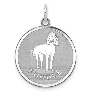 Sterling Silver Laser Etched Poodle Dog 19mm Necklace - The Black Bow Jewelry Co.