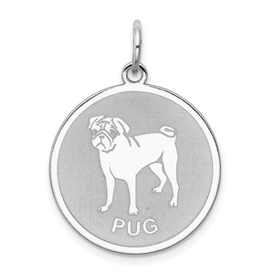 Sterling Silver Laser Etched Pug Dog 19mm Necklace - The Black Bow Jewelry Co.