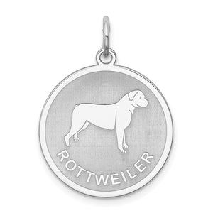 Sterling Silver Laser Etched Rottweiler Dog 19mm Necklace - The Black Bow Jewelry Co.