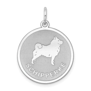 Sterling Silver Laser Etched Schipperke Dog 19mm Necklace - The Black Bow Jewelry Co.