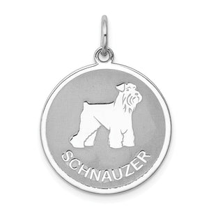 Sterling Silver Laser Etched Schnauzer Dog Pendant, 19mm - The Black Bow Jewelry Co.