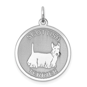 Sterling Silver Laser Etched Scottish Terrier Dog 19mm Necklace - The Black Bow Jewelry Co.