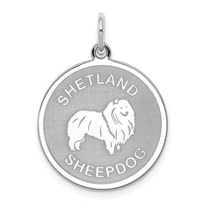 Sterling Silver Laser Etched Shetland Sheepdog Dog 19mm Necklace - The Black Bow Jewelry Co.