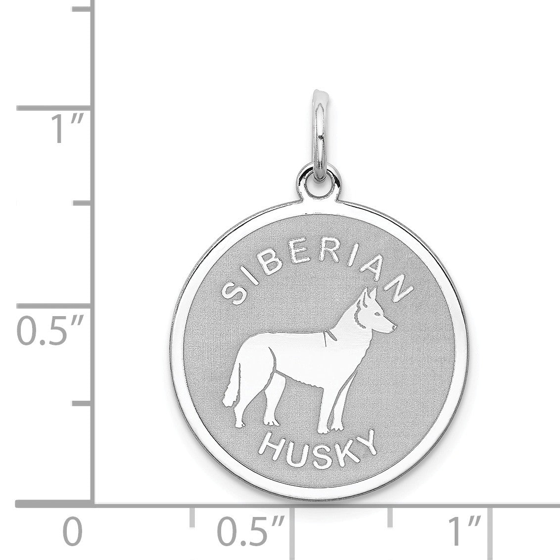 Alternate view of the Sterling Silver Laser Etched Siberian Husky Dog Pendant, 19mm by The Black Bow Jewelry Co.