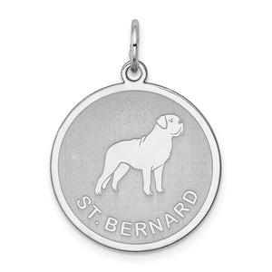 Sterling Silver Laser Etched St. Bernard Dog 19mm Necklace - The Black Bow Jewelry Co.