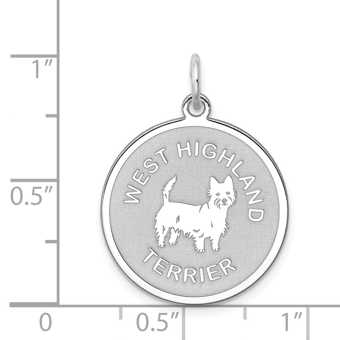 Alternate view of the Sterling Silver Laser Etched West Highland Terrier Pendant, 19mm by The Black Bow Jewelry Co.