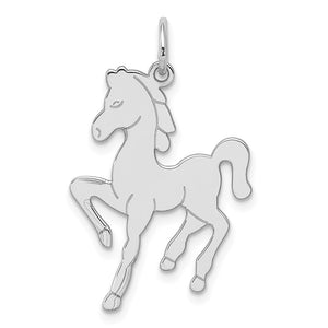 Sterling Silver Polished Prancing Horse Pendant - The Black Bow Jewelry Co.