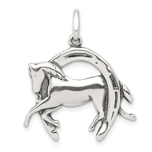Sterling Silver Antiqued 3D Horse and Horseshoe Pendant - The Black Bow Jewelry Co.