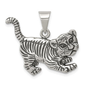 Sterling Silver Antiqued Tiger Cub Pendant - The Black Bow Jewelry Co.