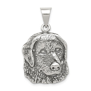 Sterling Silver 20mm Antiqued Dog Head Pendant - The Black Bow Jewelry Co.