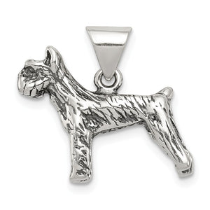 Sterling Silver 3D Antiqued Boxer Dog Pendant - The Black Bow Jewelry Co.