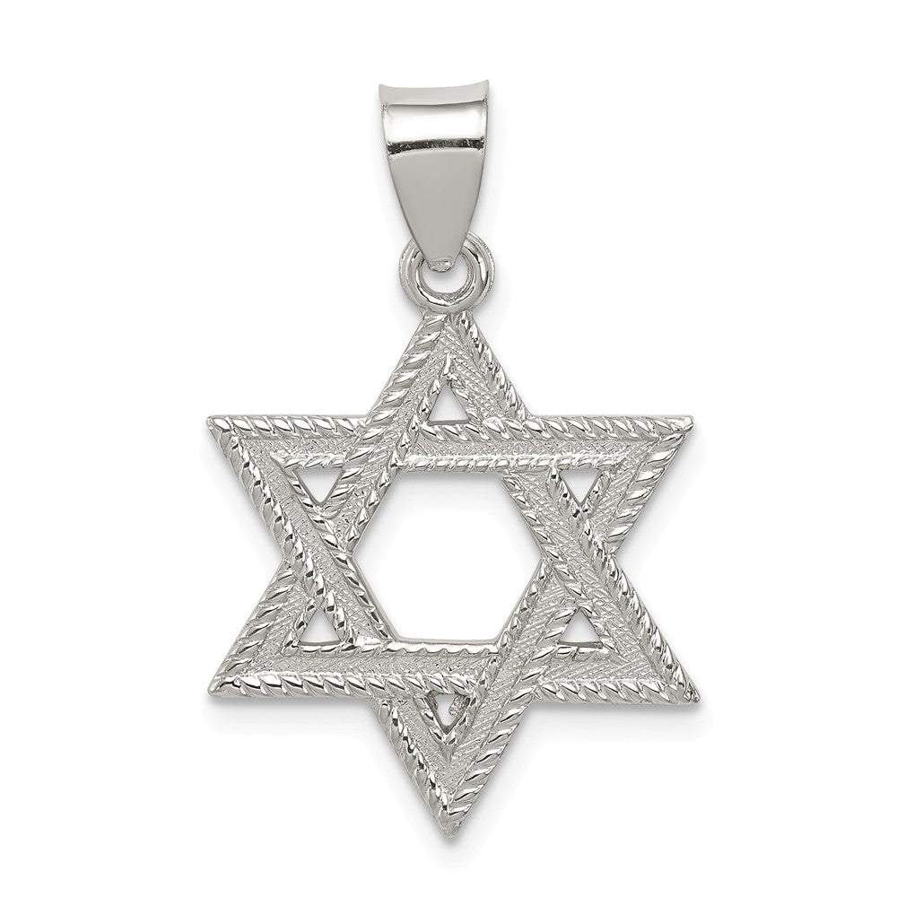 Sterling Silver Satin Textured Star of David Charm or Pendant, Item P10819 by The Black Bow Jewelry Co.