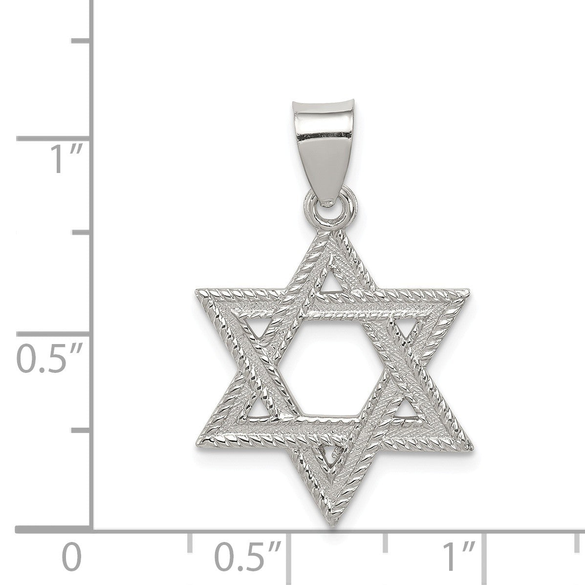 Alternate view of the Sterling Silver Satin Textured Star of David Charm or Pendant by The Black Bow Jewelry Co.