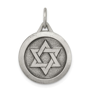 Sterling Silver Antiqued Star of David Medal, 17mm Necklace - The Black Bow Jewelry Co.